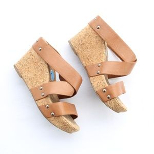 Lucky Brand Tan Strappy Cork Wedges 7.5